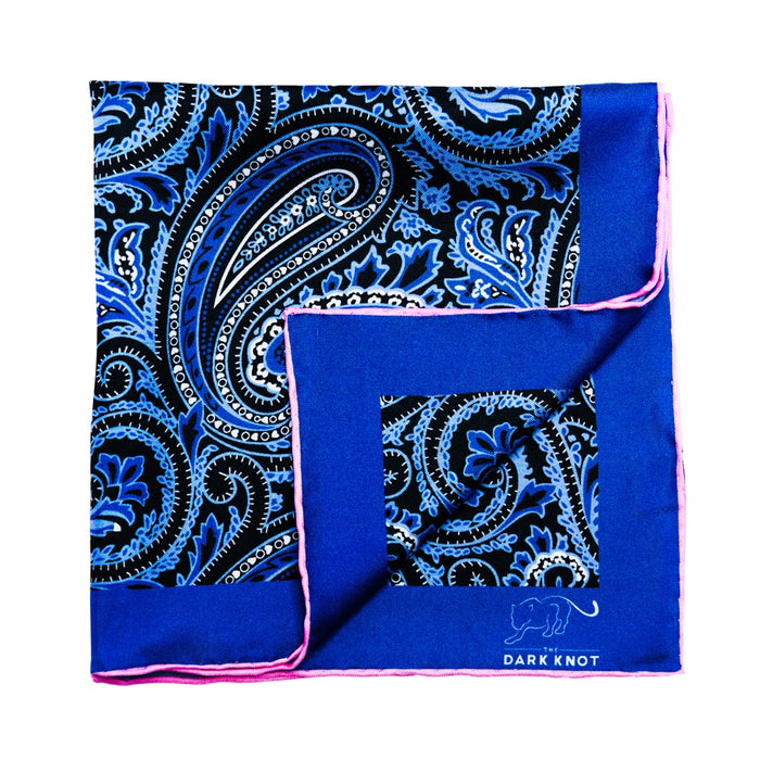 Blue Paisley Silk Pocket Square with Pink Hand Rolled Contrasting Edges