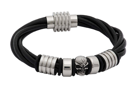 Del Mar Black Leather Skull Bracelet