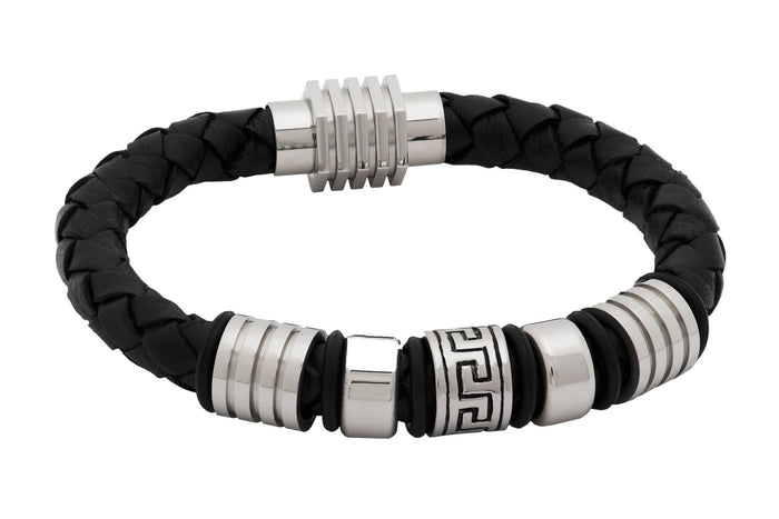 Black Leather Stainless Steel Bracelet