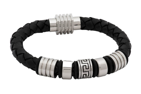 Maynard Leather Stainless Steel Bracelet