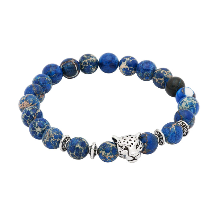 Oakley Silver Leopard Blue Regalite Beaded Bracelet