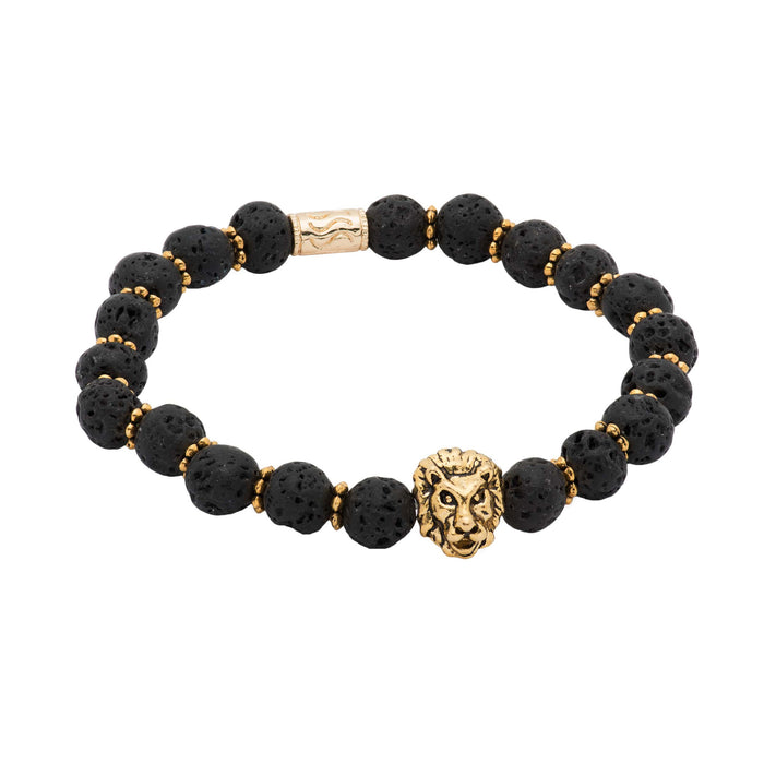 Black Lava Stone Gold Lion Beaded Bracelet