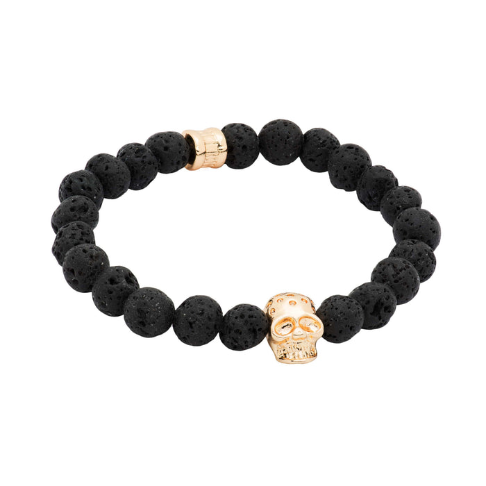 Black Lava Stone Gold Skull Beaded Bracelet