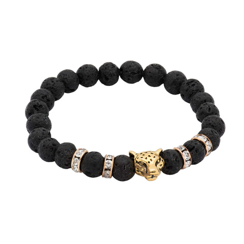 Oakley Gold Leopard Black Lava Stone Beaded Bracelet