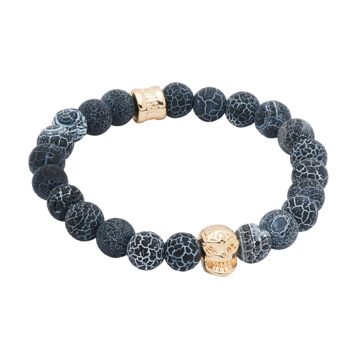 Black & Grey Agate Gold Skull Beaded Bracelet