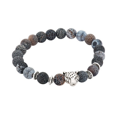 Oakley Silver Leopard Black & Grey Agate Beaded Bracelet