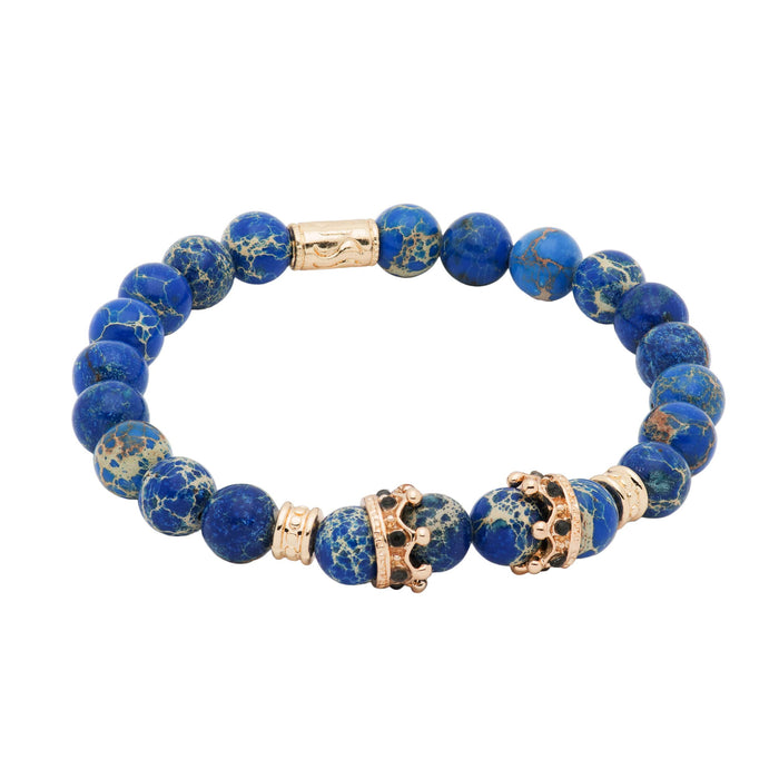 Pomona Gold Crown Blue Regalite Beaded Bracelet