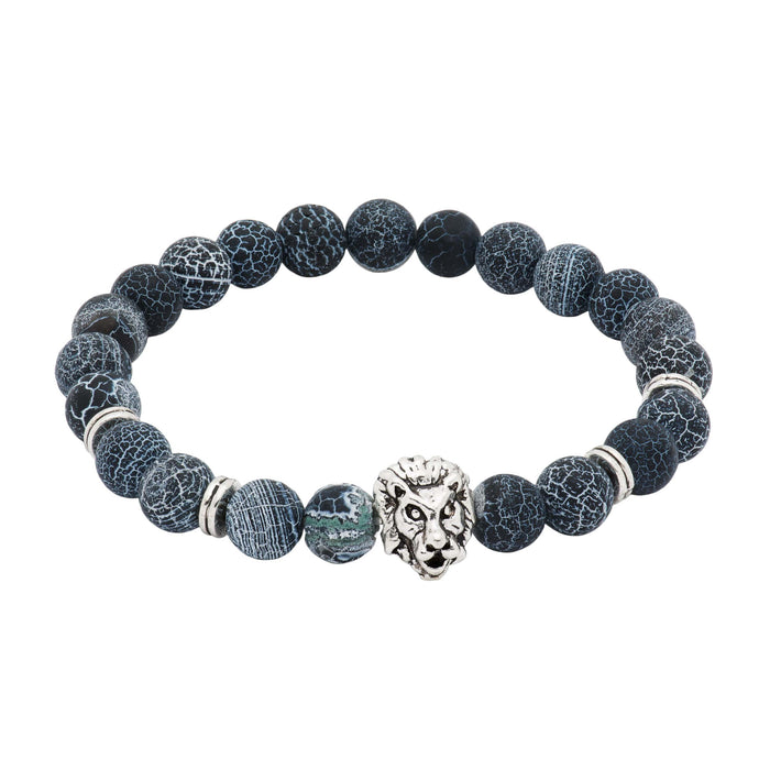 Black & Grey Agate Silver Lion Beaded Bracelet