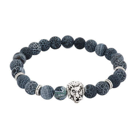 Manteca Silver Lion Black & Grey Agate Beaded Bracelet