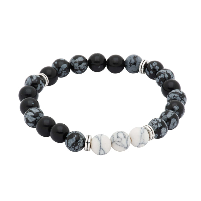 Portola Black & White Onyx Beaded Bracelet
