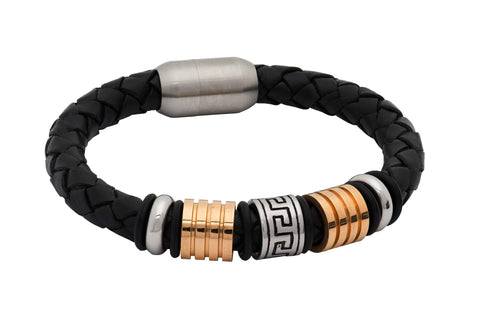 Covina Black Leather Silver & Gold Bracelet