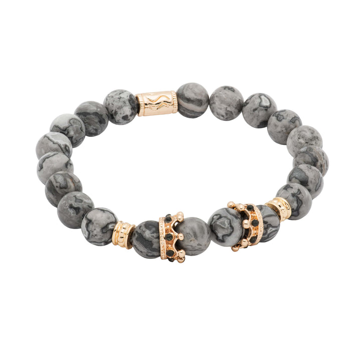 Gold Crown Grey Agate Beaded Bracelet