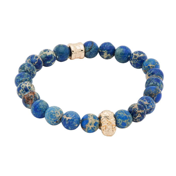 Blue Beaded Gold Skull Bracelet
