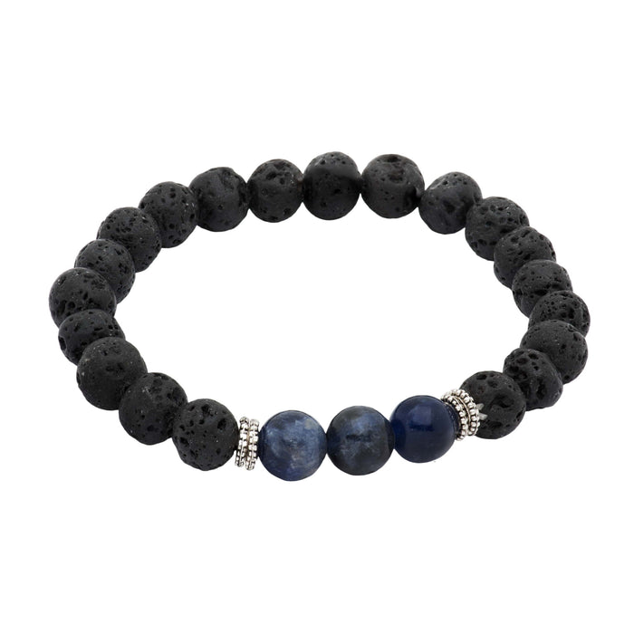 Black Lava Stone & Onyx Beaded Bracelet