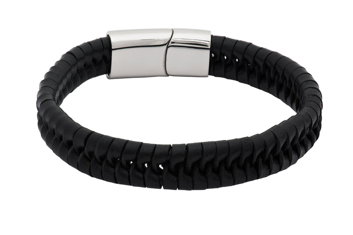 Cupertino Black Leather Stainless Steel Bracelet