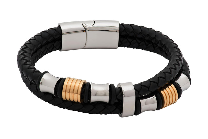 Black & Gold Leather Stainless Steel Bracelet