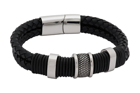 Glendale Black Leather Stainless Steel Bracelet