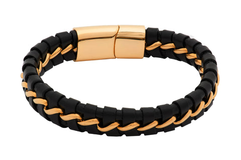Irvine Black Leather Gold Bracelet