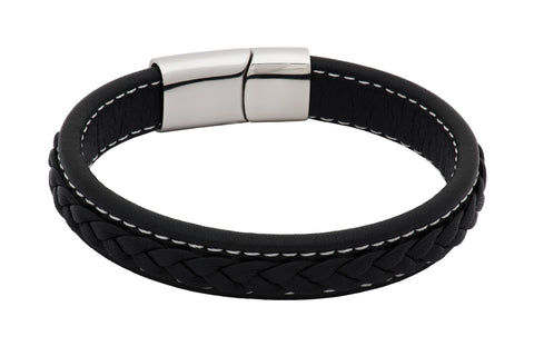 Lafayette Black Leather Stainless Steel Bracelet