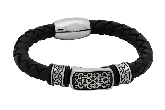 Black Leather Stainless Steel Men's Bracelet