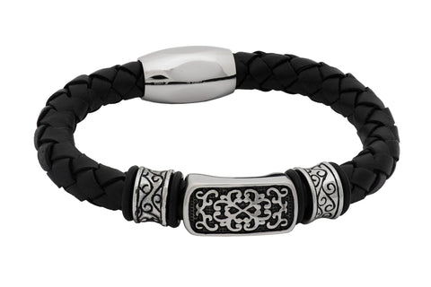 Livingston Black Leather Stainless Steel Bracelet