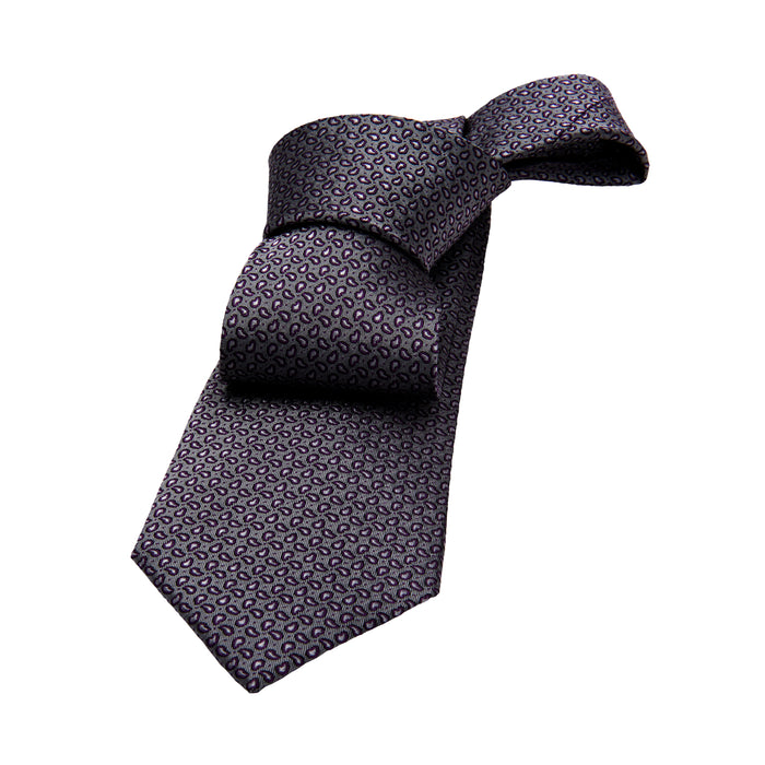 Grey Abstract Silk Tie