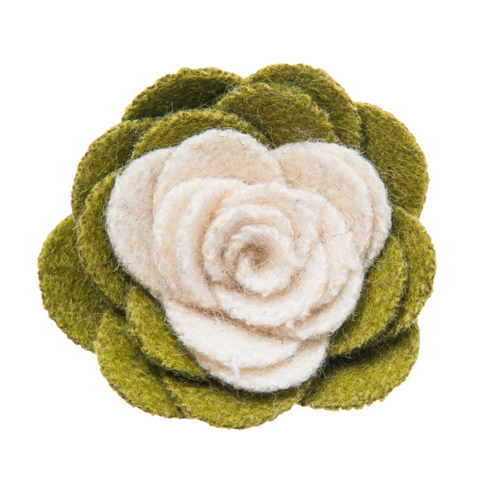 Green and white lapel flower