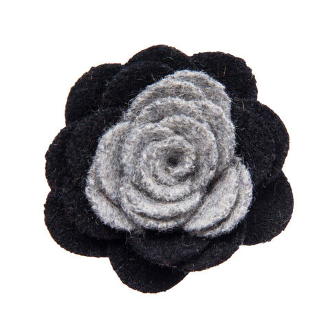 Black and grey lapel flower