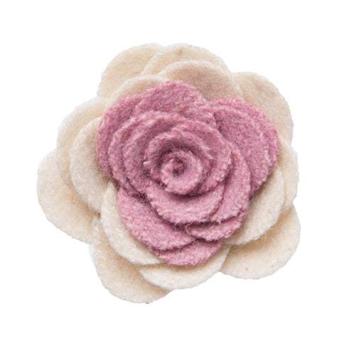 Pink and white lapel flower