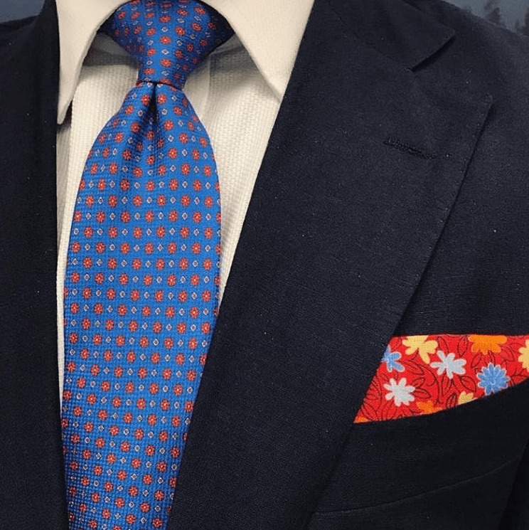 Red Linen Floral Pocket Square