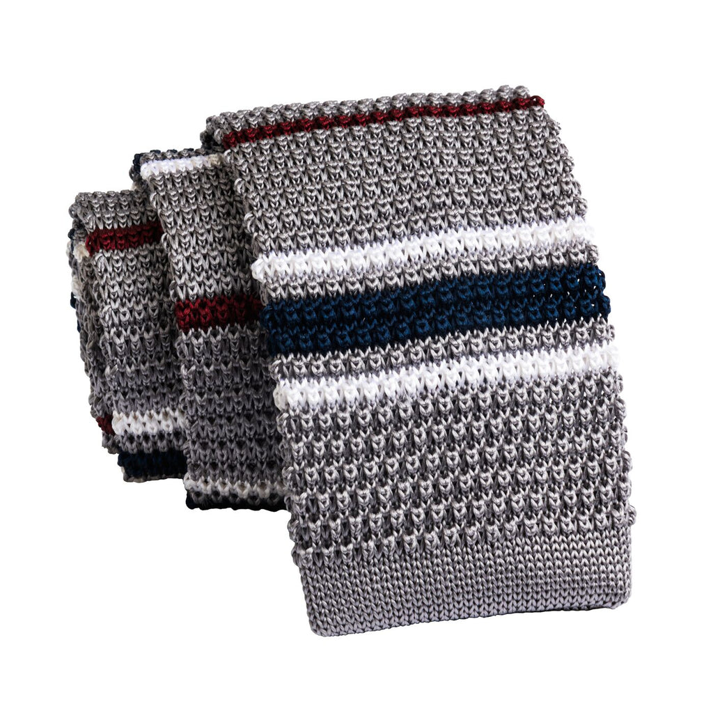 Grey & Burgundy Stripes Knitted Silk Tie