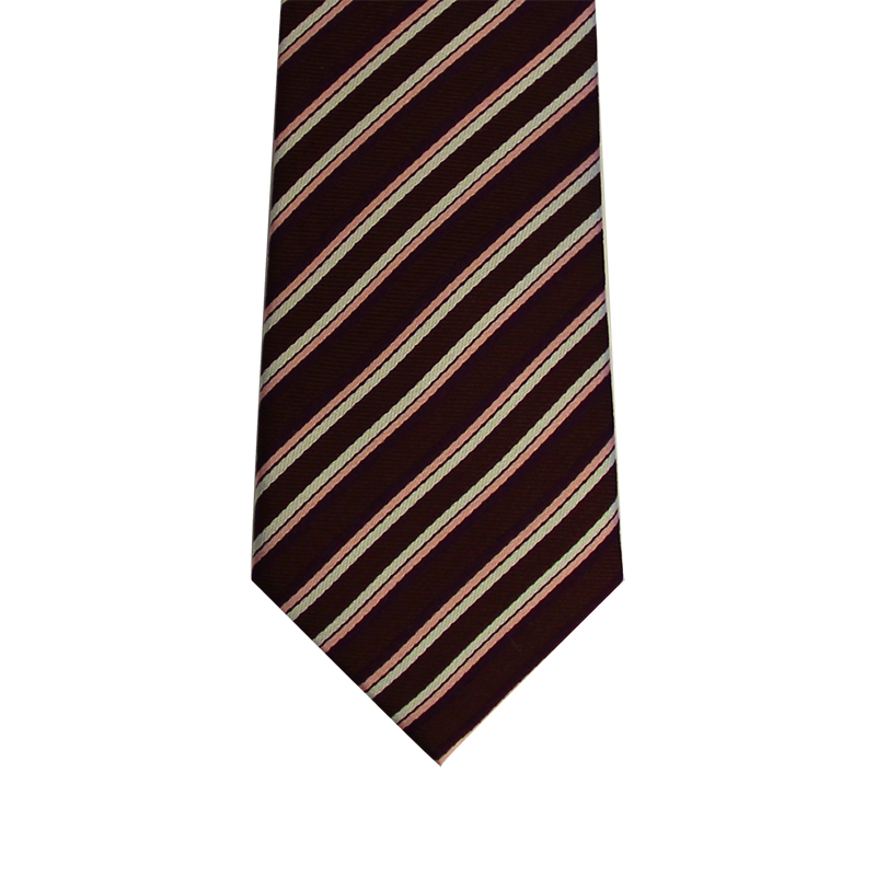 Burgundy striped skinny silk tie