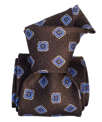 Brown & Blue Foulard Silk Tie