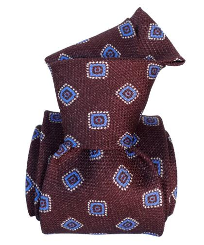 Burgundy & Blue Foulard Silk Tie