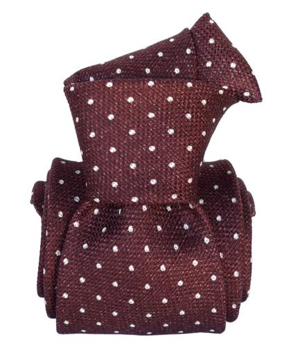 Burgundy & White Polka Dot Silk Tie