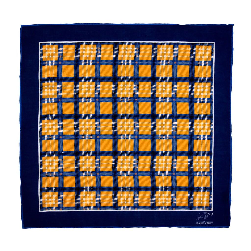 Yellow & Blue Checkered Linen Pocket Square