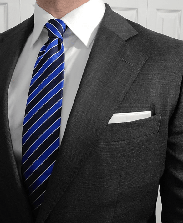 Navy & Blue Regimental Striped Silk Tie