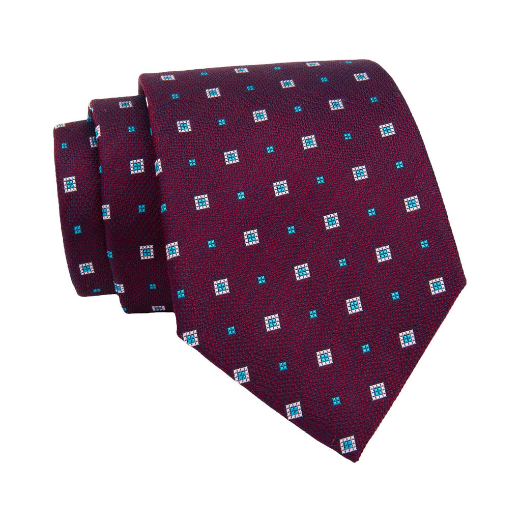 Purple & Blue Geometric Silk Tie