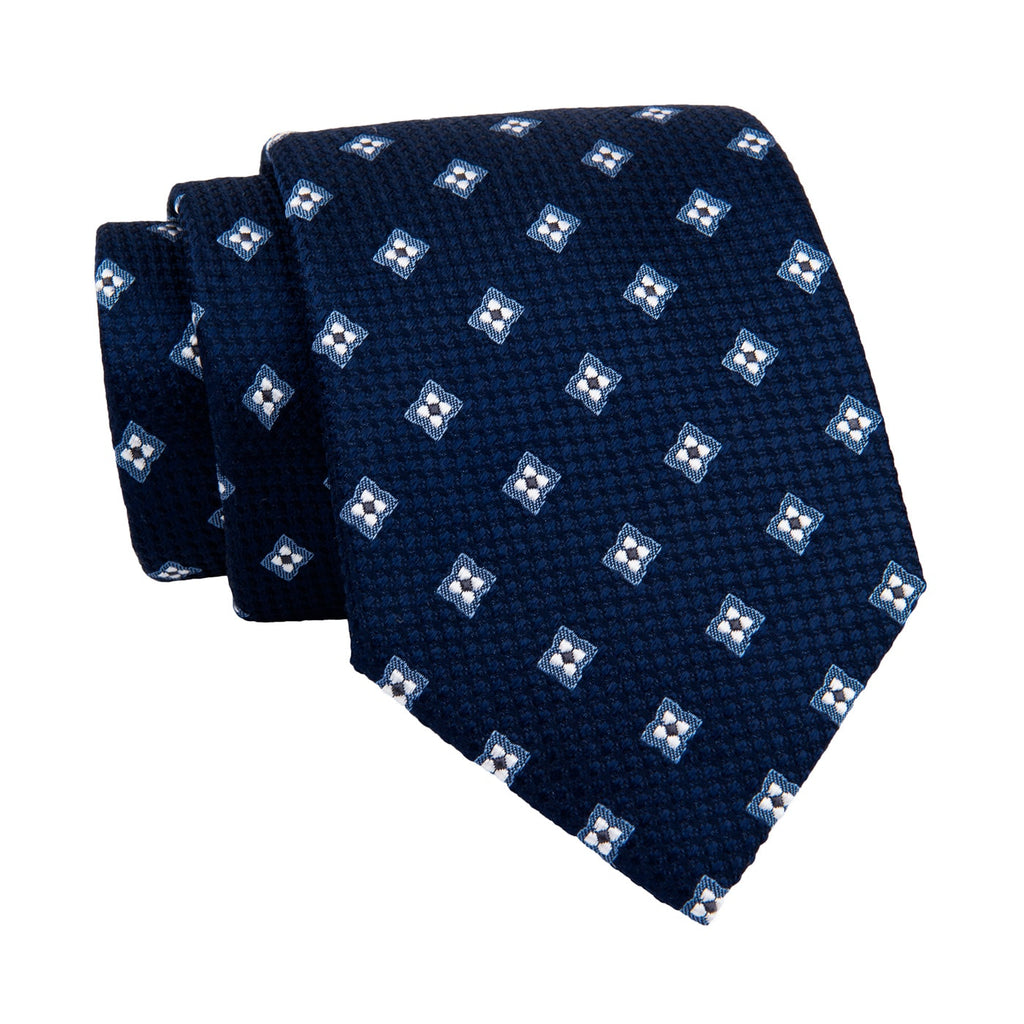 Navy & Light Blue Foulard Silk Tie