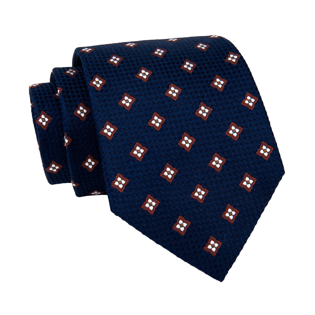 Brown & Navy Foulard Silk Tie