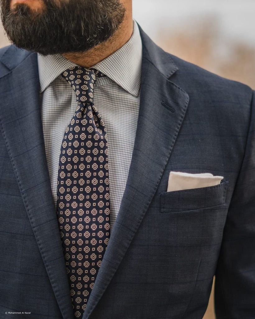 Blue & Silver Geometric Silk Tie