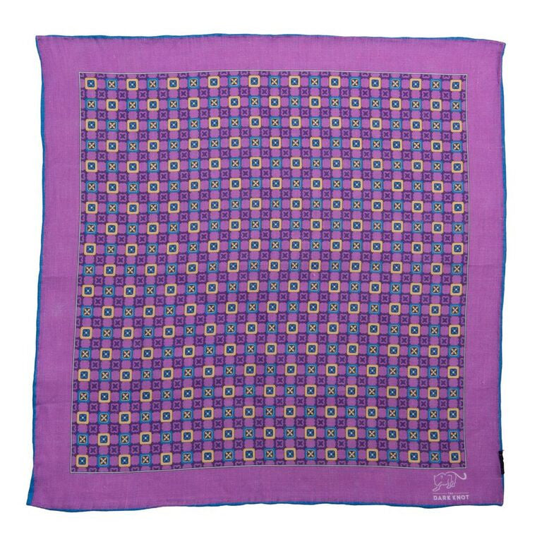 Purple Linen Checkered Pocket Square