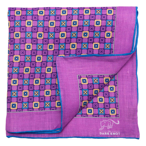 Charlton Abstract Linen Pocket Square, Purple / Blue / Yellow