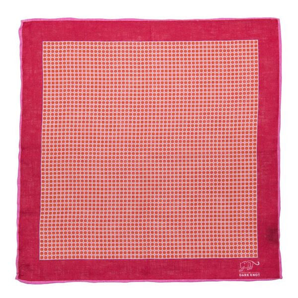 Red Checkered Linen Pocket Square
