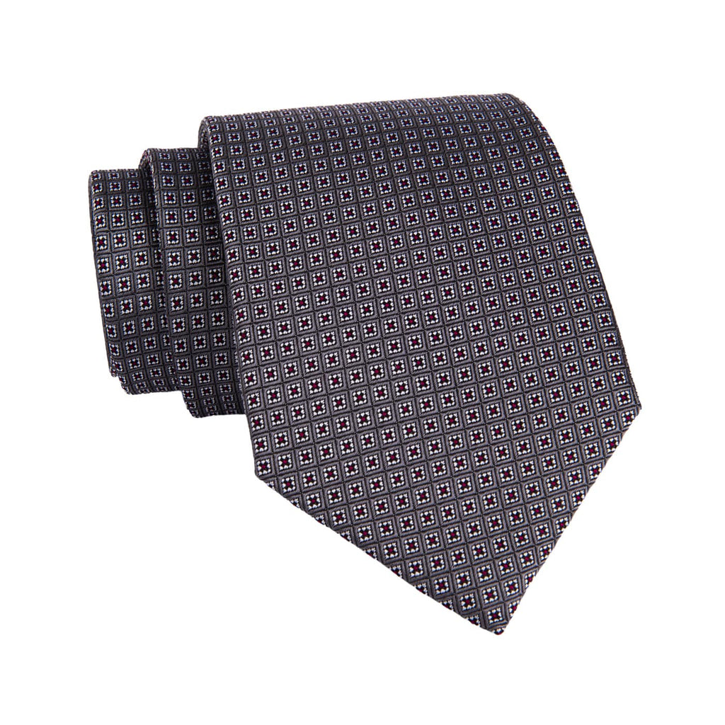 Grey & Red Foulard Silk Tie