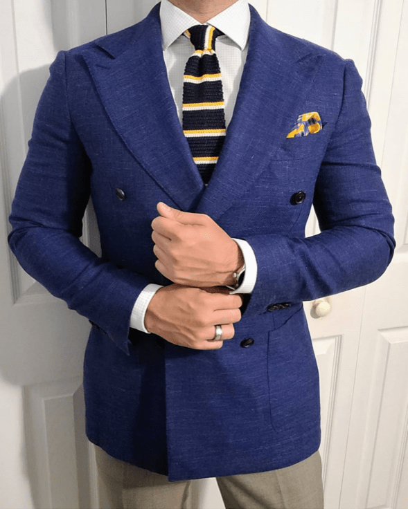 Navy, Yellow & White Silk Knit Tie