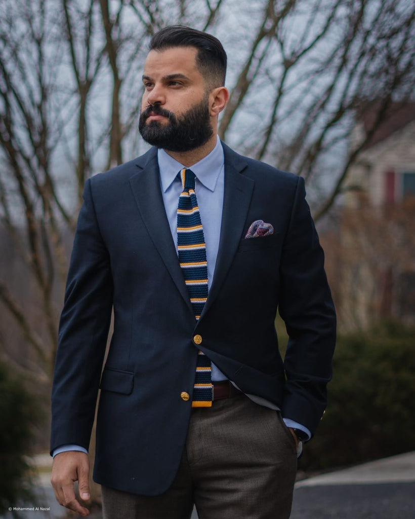 Navy & Yellow Striped Silk Knit Tie