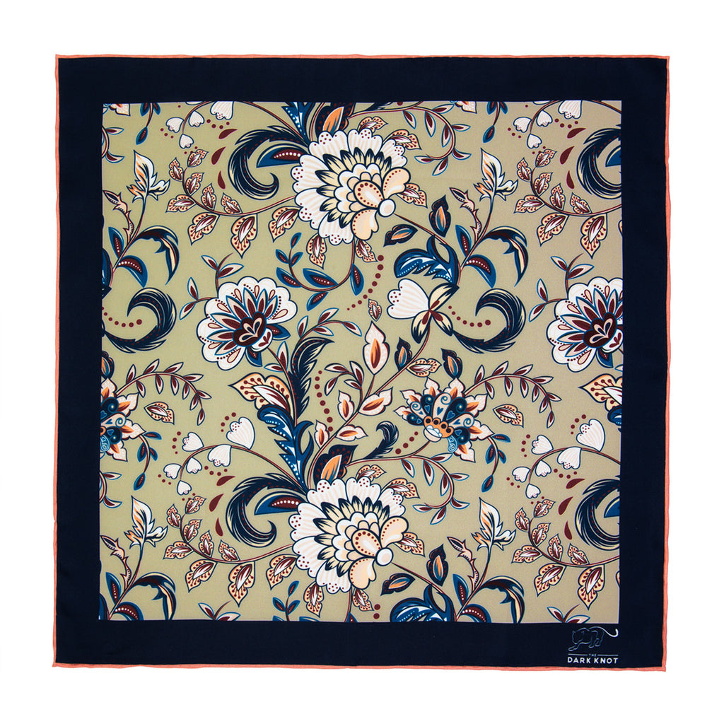Cream, Blue & White Floral Silk Pocket Square
