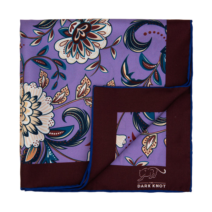 Lilac, Blue & White Floral Silk Pocket Square