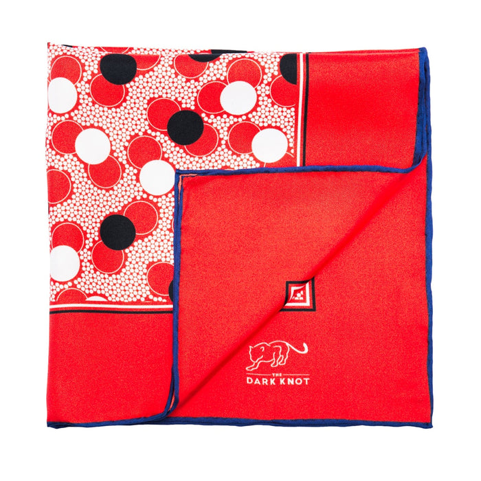 Red, White & Black Polka Dot Silk Pocket Square